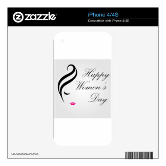 Happy womens day card with face of a lady iPhone 4S decal