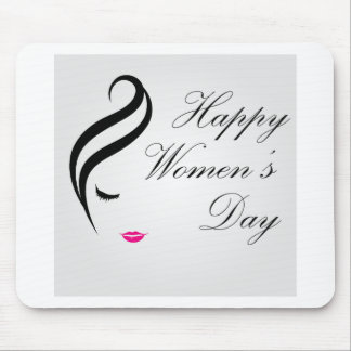 Happy womens day card with face of a lady mouse pad