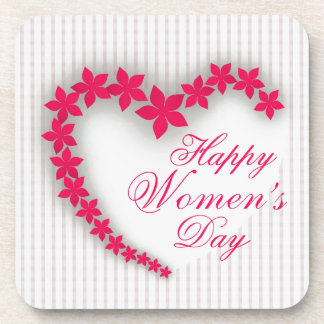Happy women's day with flower heart beverage coaster