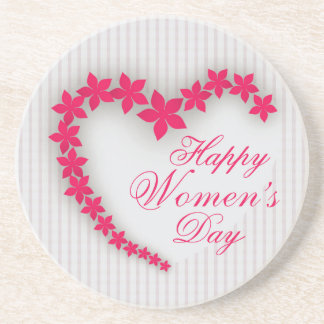 Happy women's day with flower heart drink coaster