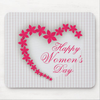 Happy women's day with flower heart mouse pad