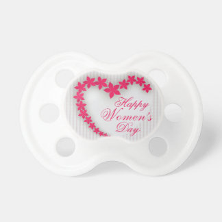 Happy women's day with flower heart pacifier
