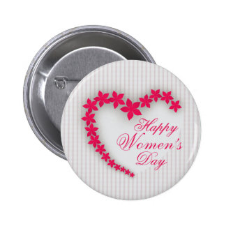 Happy women's day with flower heart pinback button