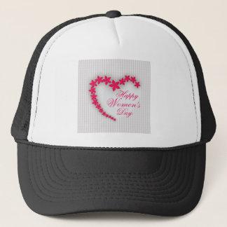 Happy women's day with flower heart trucker hat