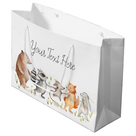 Happy Woodland Friends Baby Shower Large Gift Bag