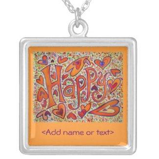 Happy Word Art Custom Jewelry Necklace Charm