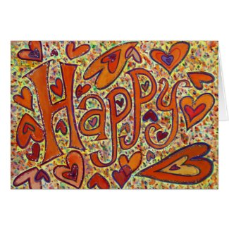 Happy Word Art Inspirational Funny Greeting Cards