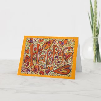 Happy Word Inspirational Art Custom Greeting Cards