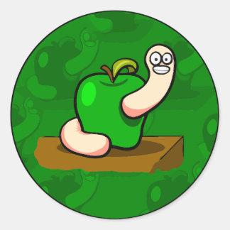 Happy Worm in Green Apple Classic Round Sticker