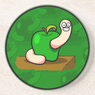 Happy Worm in Green Apple Coaster