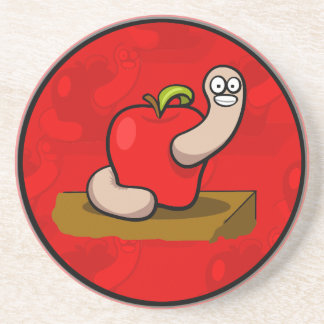 Happy Worm in Red Apple Coaster
