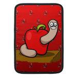 Happy Worm in Red Apple MacBook Sleeve