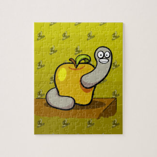 Happy worm in Yellow Apple Jigsaw Puzzle