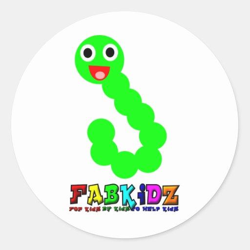 Happy Worm Round Stickers