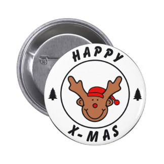 Happy x-mas annuitant with tree pinback button