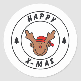 Happy x-mas annuitant with tree classic round sticker