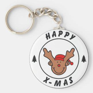 Happy x-mas annuitant with tree keychains