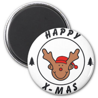 Happy x-mas annuitant with tree magnet