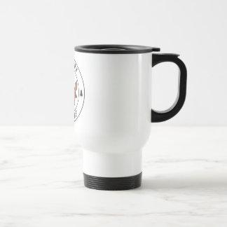 Happy x-mas annuitant with tree travel mug