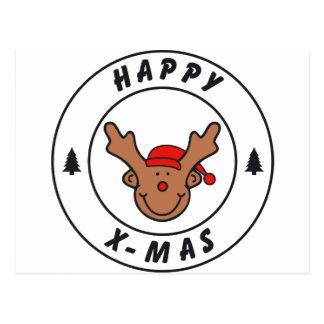 Happy x-mas reno con árbol postal