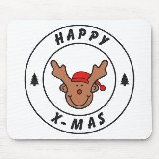 Happy x-mas reno con árbol tapete de ratones