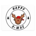 Happy x-mas reno con árbol tarjetas postales