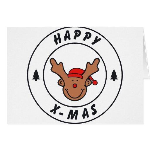 Happy x-mas Rentier mit Baum Karte