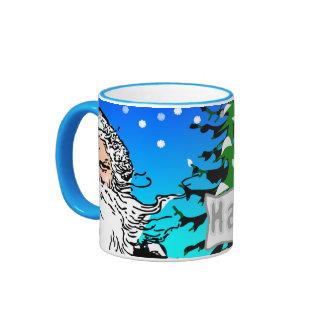 Happy Xmas Ringer Coffee Mug