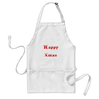 Happy Xmas. Red and White. Custom Apron