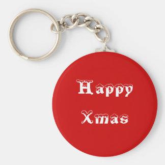Happy Xmas. Red and White. Custom Basic Round Button Keychain