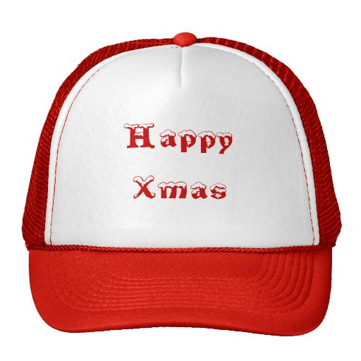 Happy Xmas. Red and White. Custom Hats