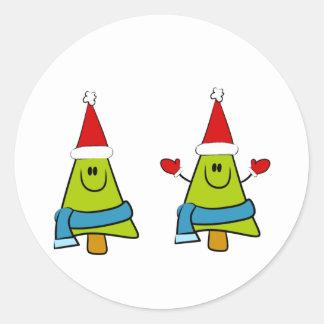 Happy XMas Trees Classic Round Sticker