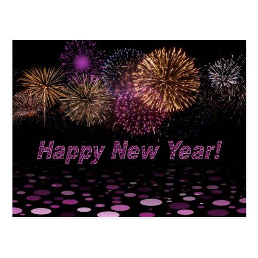 Happy Year New - fuegos artificiales Tarjetas Postales