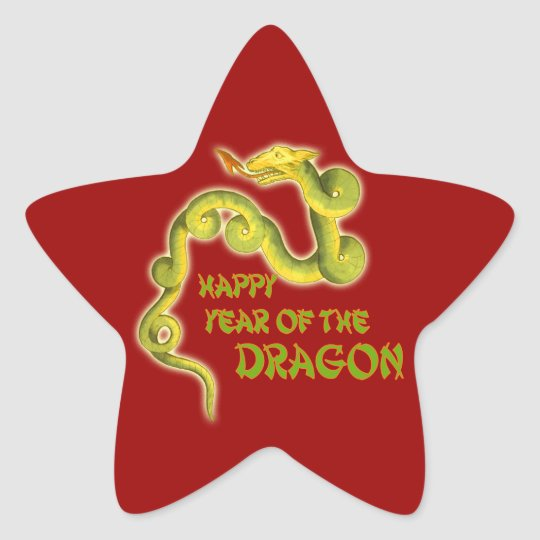 Happy Year of the Dragon Gifts Star Sticker