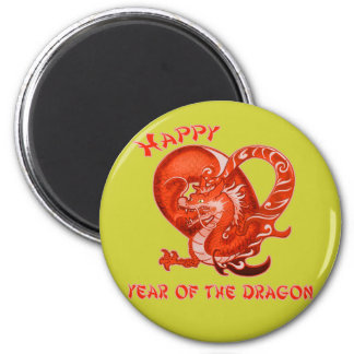 Happy Year of the Dragon with Orange Dragon 2 Inch Round Magnet