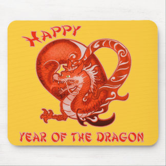 Happy Year of the Dragon with Orange Dragon Mouse Pad