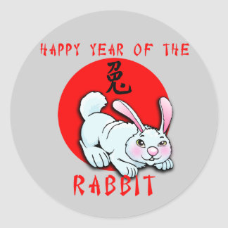 Happy Year of the Rabbit Cards, Apparel, Gifts Round Stickers