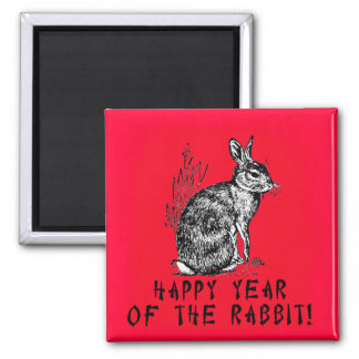 Happy Year of the Rabbit with Rabbit Illustration 2 Inch Square Magnet