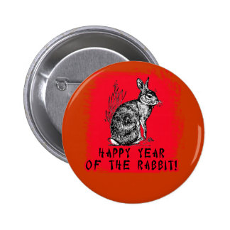 Happy Year of the Rabbit with Rabbit Illustration Pinback Buttons