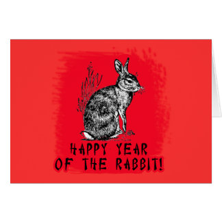 Happy Year of the Rabbit with Rabbit Illustration Greeting Card
