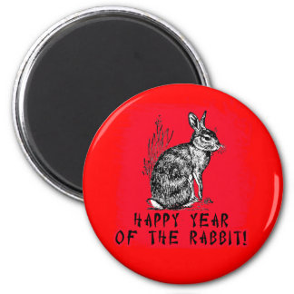 Happy Year of the Rabbit with Rabbit Illustration Magnet