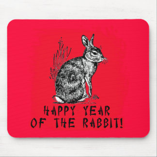 Happy Year of the Rabbit with Rabbit Illustration Mouse Pad