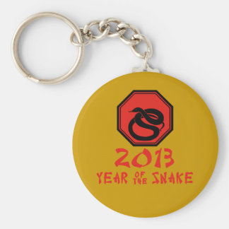 Happy Year of the Snake Chinese Calendar Basic Round Button Keychain