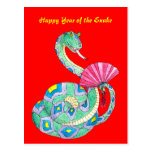 Happy Year of the Snake Red - Postcard