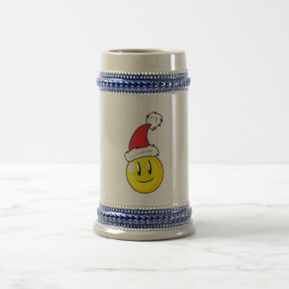 Happy Yellow Billiard Ball Christmas Red Santa Hat Beer Stein