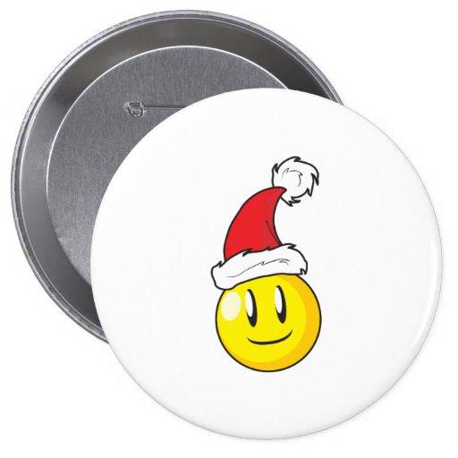Happy Yellow Billiard Ball Christmas Red Santa Hat Pin