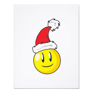 Happy Yellow Billiard Ball Christmas Red Santa Hat Card