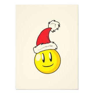 Happy Yellow Billiard Ball Christmas Red Santa Hat Card