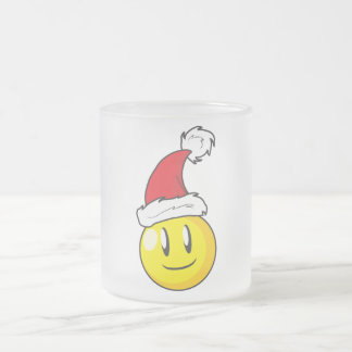 Happy Yellow Billiard Ball Christmas Red Santa Hat Frosted Glass Coffee Mug