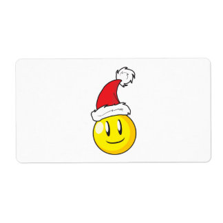 Happy Yellow Billiard Ball Christmas Red Santa Hat Label